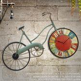 掛鐘吊鐘裝飾美式復古壁掛件咖啡廳創意墻飾酒吧裝飾仿真自行車客廳懷舊掛鐘錶Igo 摩可美家