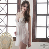 大尺碼Annabery純白雙層交疊薄紗二件式透視睡衣《Life Beauty》