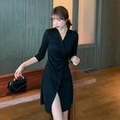 七分袖洋裝 春季新品休閒百搭七分袖純色女裝正韓V領顯瘦流行連身裙-Ballet朵朵