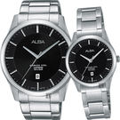ALBA 雅柏 城市簡約時尚對錶/情侶手錶-銀x黑/40+28mm VJ42-X211D+VJ22-X243D(AS9C93X1+AH7M21X1)