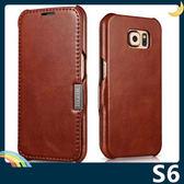 三星 Galaxy S6 真皮縫線保護套 皮革側翻皮套 復古皮紋 一體成形 商務簡約 磁扣 手機套 手機殼