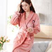 睡袍女秋冬季加厚加長款法蘭絨浴袍男士珊瑚絨浴衣家居服情侶睡衣 Mt8457『Pink領袖衣社』