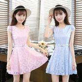 女2018夏裝新款韓版短袖修身顯瘦收腰小清新洋裝 ys358『毛菇小象』