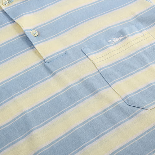LONGCHAMP 經典純棉寬條紋短袖POLO衫(灰藍/黃)179240