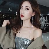 網紅冷淡風滿鑽長款項錬耳環掛脖一體式連體耳釘歐美個性耳飾女  時尚潮流