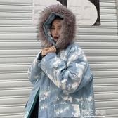 棉衣女韓版寬鬆原宿風冬季加厚中長款迷彩連帽棉服外套潮『櫻花小屋』