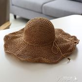 大檐手工編織度假沙灘帽海邊旅游度假可折疊大沿草帽防曬遮陽帽子  提拉米蘇