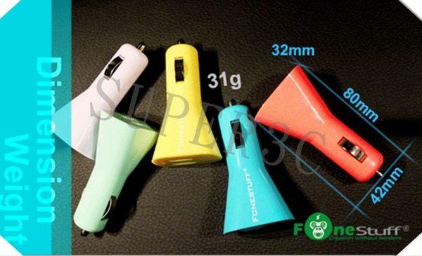 新竹【超人3C】Fonestuff 瘋金剛 5V/3.1A雙USB車充 雙USB孔,可同時充電手機/平板 3.1A