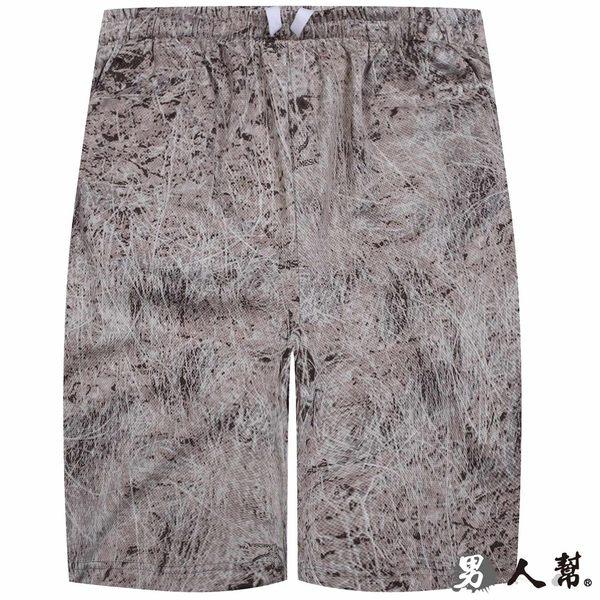 【男人幫】潮流皮革紋素面拉繩鬆緊短褲 (K0442)