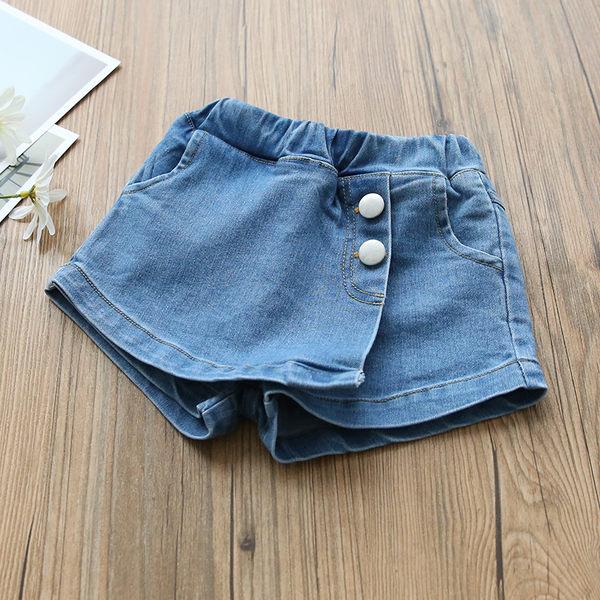 夏季童裝女童牛仔假兩件鈕扣褲裙.牛仔熱褲.牛仔裙~EMMA商城
