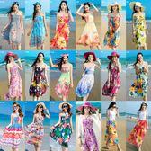 沙滩裙女新款海边度假2018夏装雪纺中长款显瘦抹胸波西米亚连衣裙『艾麗花園』