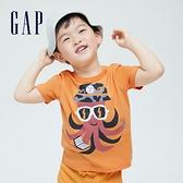Gap男幼童 布萊納系列 海灘風印花純棉短袖T恤 701446-橙色