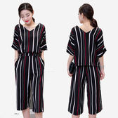 高雅套裝    顯瘦黑紅白條紋寬鬆V領上衣+寬口褲 [MNNO16052304]