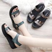 涼鞋女士媽媽鞋涼鞋子夏季中年中跟軟底中老年人女鞋百搭平底 【快速出貨】