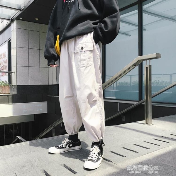 chic闊腿工裝褲男寬鬆休閒秋冬季百搭嘻哈hiphop褲子 凱斯盾