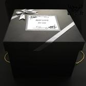 黑色高級禮物盒簡約生日禮物送朋友包裝盒空盒禮品盒【古怪舍】