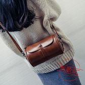 森繫復古圓桶包包新款韓版時尚女包簡約百搭定型單肩斜挎包快速出貨下殺89折