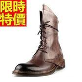 馬丁靴-真皮工裝做舊中筒男靴子3色64h91[巴黎精品]