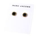 美國正品 MARC JACOBS 圓牌LOGO針式耳環-黑/金【現貨】