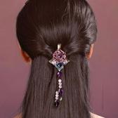 頭頂發夾網紅韓國復古飾品發飾古風半扎頭飾頭花女劉海小夾子邊夾