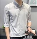 夏季休閒半袖襯衫男薄款七分袖短袖五分袖潮...