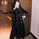 OL洋裝 黑色氣質大衣女2020秋冬新款風衣女中長款英倫風過膝西裝連衣裙 萬聖節鉅惠