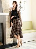 秋冬8折[H2O]下擺波浪不對稱設計中長版格紋魚尾裙 - 咖格色 #9632020