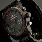 精工雙顯機芯特種軍錶時尚全黑鋼帶男士手錶 戶外運動 ~黑色地帶