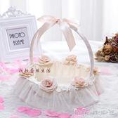 香檳色玫瑰之戀珍珠全包布舞蹈兒童花籃 婚禮舞會晚會裝飾WD 晴天時尚館