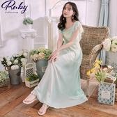 洋裝 蕾絲荷葉拼接雪紡無袖長洋裝-Ruby s 露比午茶