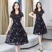 V領短袖洋裝~9251黑色V領碎花網紗拼接連衣裙長款過膝氣質超仙H-325 胖妞衣櫥