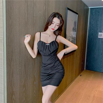 吊帶洋裝98387吊帶夜店緊身包臀小黑裙女主播網紗拼接吊帶褶皺包臀裙G507-B.1號公館