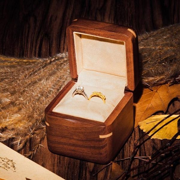黑胡桃純實木質音樂對戒盒求婚戒指盒八音盒天空之城生日禮物女生