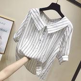 2018夏新寬鬆娃娃領小衫清新豎條紋襯衫短袖棉麻襯衣女學生上衣潮 草莓妞妞