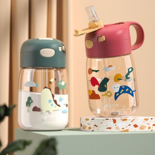 兒童水杯帶吸管防摔吸管杯可愛男女孩幼兒園3歲學飲杯塑料 快速出貨