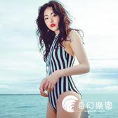 連體泳衣-日系簡約度假新款性感條紋泳衣女 遮肚泳裝比基尼連體溫泉-奇幻樂園