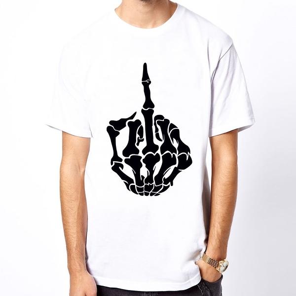 Middle Finger Skeleton短袖T恤 2色 中指肋骨骷髏搖滾街頭刺青潮t-shirt390 Gildan