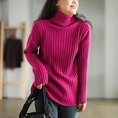 包芯紗坑條針織衫 高領純色長袖套頭打底毛衣/4色-夢想家-1110