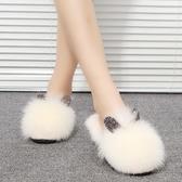 特賣秋季拖鞋秋季毛毛鞋女新款網紅毛毛拖鞋女外穿時尚CHIC社會半拖鞋包頭