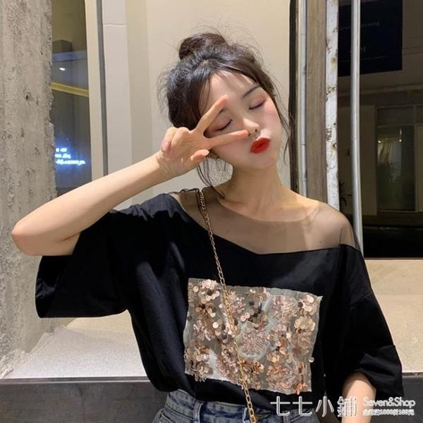 網紗拼接短袖T恤女裝夏季2021新款韓版寬鬆設計感黑色打底衫上衣
