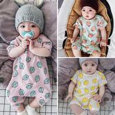 嬰兒連身衣薄款哈衣男女寶寶短袖純棉爬服0-6個月新生兒衣服 童趣潮品