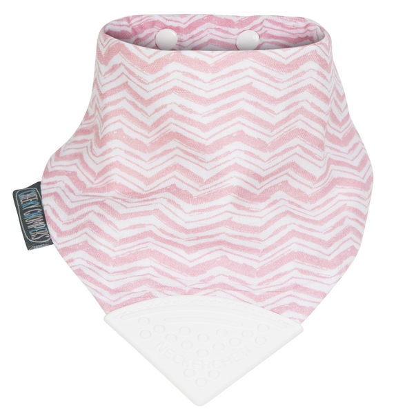 Cheeky Chompers-輕涼感四層柔紗咬兜/領巾/圍兜/固齒器 - 粉紅波波