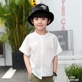 男童襯衫短袖白色純棉夏裝新款韓版潮中大童兒童男孩童裝襯衣『鹿角巷』