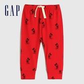 Gap嬰兒 Gap x Disney 迪士尼系列鬆緊休閒褲 650236-紅色