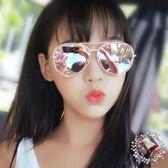 新品街拍前衛眼鏡大臉復古墨鏡女潮時尚正韓百搭金屬框粉色太陽鏡