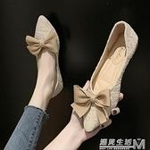 带蝴蝶结单鞋孕妇平底新款懒人浅口软底尖头女鞋鞋瓢鞋百搭鞋 遇見生活