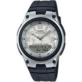 CASIO 都會個性地圖紋雙顯腕錶(膠帶/白面)_AW-80-7A2【屈臣氏】