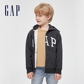 Gap男童 碳素軟磨系列 Logo刷毛休閒連帽外套 663912-炭灰色