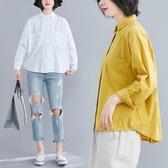 依多多 襯衫 春款長袖寬鬆韓版文藝插肩袖口袋簡約顯瘦棉麻上衣