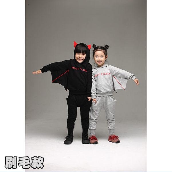 聖誕 套裝 蝙蝠造型 刷毛保暖厚款套裝-灰黑兩色 本網頁為刷毛款